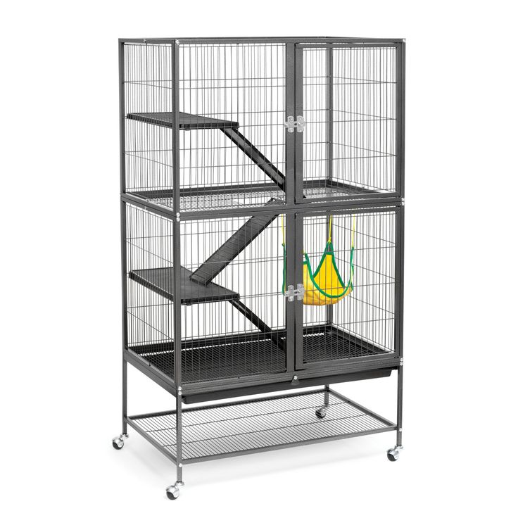 Features: -Includes 2 plastic platforms, 3 plastic ramps, 1 hammock, grille and cage. -Removable plastic bottom pan. -Two large hinged escape-proof front doors. -Pull-out drawer with lock to preve