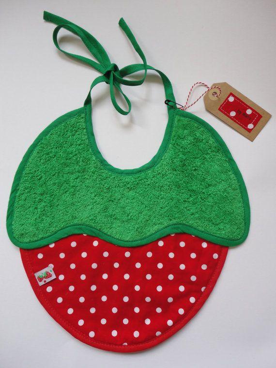 Bib strawberry shaped fruit design by byMetz on Etsy, $15.00