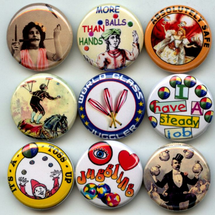 Juggling Juggler Circus Street Performer Act Pinback button set by Yesware11 on Etsy.. click for details!