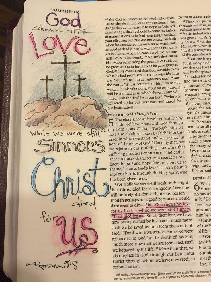 Romans 5:8--God shows his love