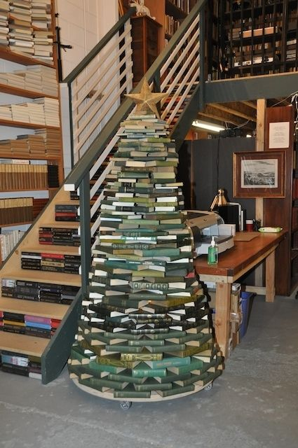 Love the tree but love the book stairs even more!!! What a great way to repurpose books that would otherwise be tossed or recycled..