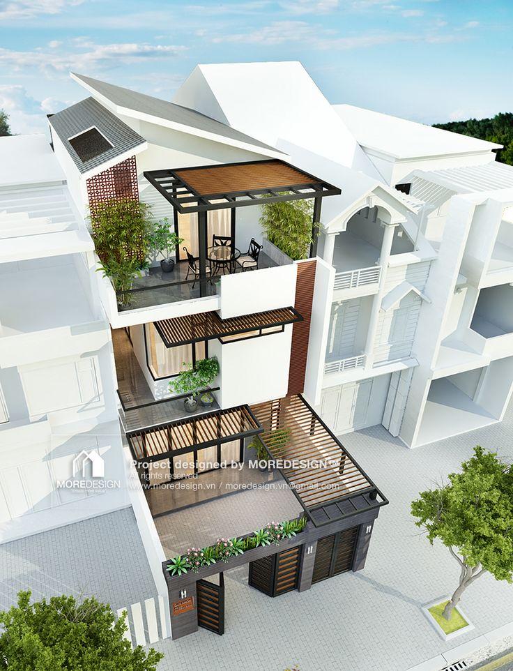 Công trình Thiết kế kiến trúc và nội thất nhà phố hiện đại. Diện tích xây dựng: 6,6m x 21m Phong cách kiến trúc Nhiệt đới: Phần lớn các không gian chức năngở vị trí nhiều cây xanh, trong đó có các cây lớn với tán lá rộng góp phần che nắng cho ngôi nhà, …