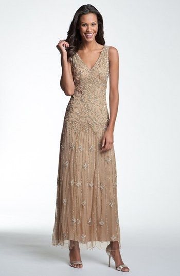 Vintage Mother of the Bride dress Pisarro Nights V-Neck Beaded Sequin Gown (Regular & Petite) | Nordstrom