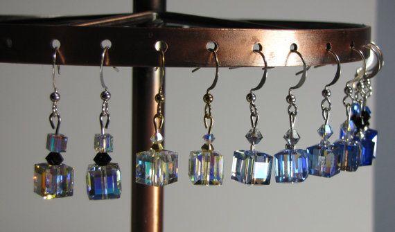8x8mm Swarovski Crystal Cube Earrings by RosemarysJewellery
