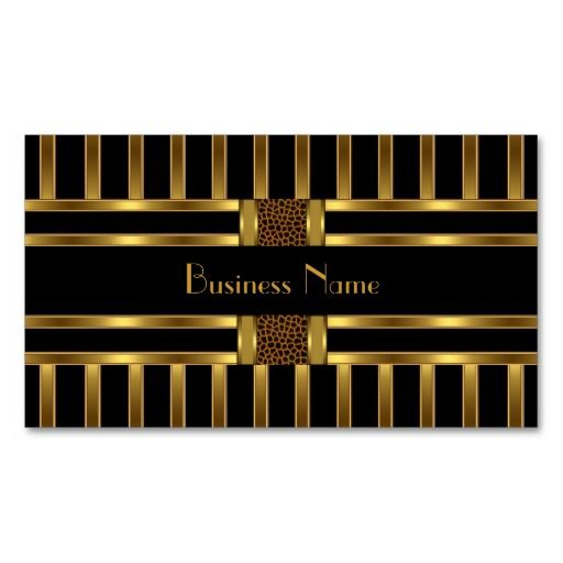 Business Card Black Gold Stripe