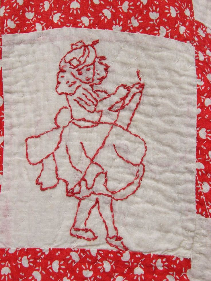 20s Folk Art Quilt Redwork Hand Stitched Embroidered