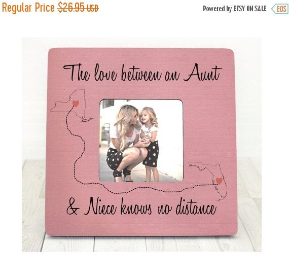 Christmas gift Aunt Niece Auntie Gift Personalized Picture Frame Gift Custom States Map from Niece Nephew Love Between Aunt and Niece