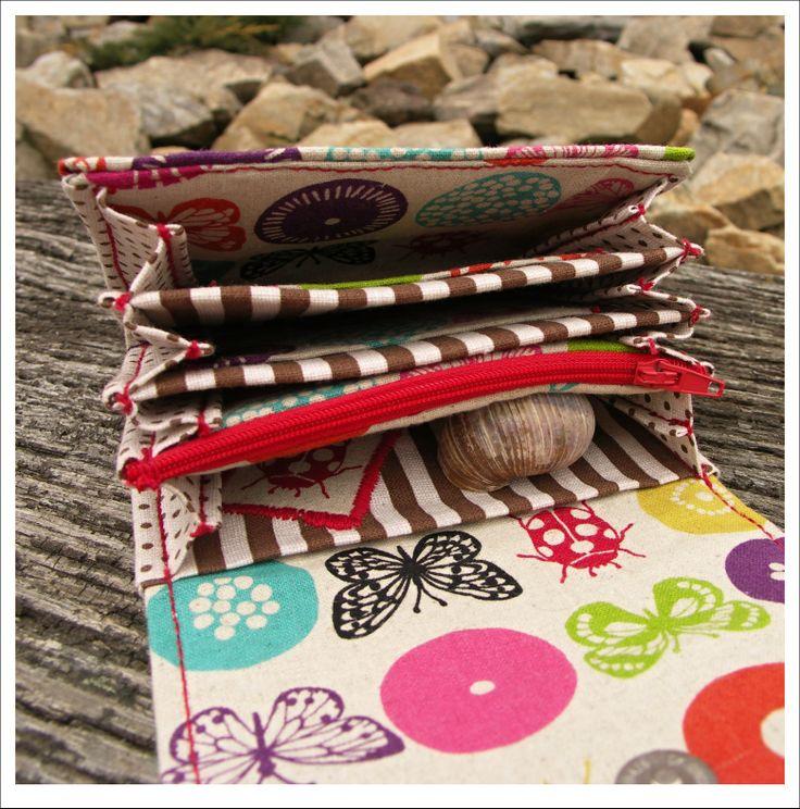 Motýlí incest Krásná peněženka z kvalitní japonské látky Materiál: 45% bavlna, 55% len ,od návrhářky Etsuko Furuya (Echino). Má 4 volné kapsy na přeložené bankovky, 1 na účtenky a 1 kapsu se zipem na drobásky. Taktéž dvě kapsičky na karty. Podložená decovilem, takže nádherně drží tvar. Provedena impregnace, lepší odolnost vůči prachu, vodě a špíně :) ...