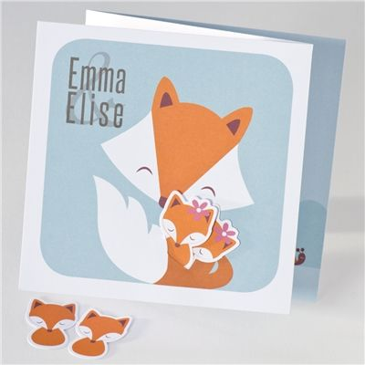 Geboortekaartje mama vos met haar kleintje - Suikerdraakje - Doopsuiker en Geboortekaartjes