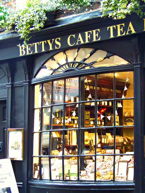 Looking through the window of Little Betty's, York, North Yorkshire
