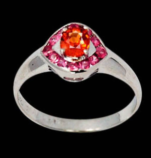 NATURAL SPESSARTITE ORANGE GARNET & PINK SAPPHIRES 925 STERLING SILVER SZ 7.5 SEE HIGH DEFINITION VIDEO   $65.00  Plus $4.75 registered mail from thailand office delivery time  12-25 days  delivery guarenteed