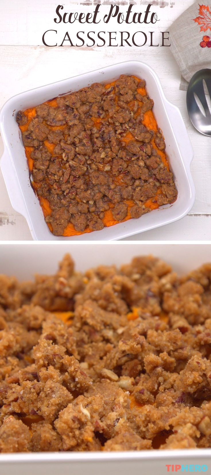 No time like the holidays to break out this sweet and delicious sweet potato casserole recipe. Loaded with pecans, brown sugar, and yes, butter,  this sweet potato side dish does not disappoint! It is just the right amount of sweet and crunch. Click for the video and give it a try!