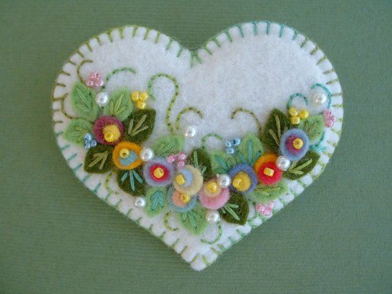 Felt Flower Applique Heart Pin via Etsy