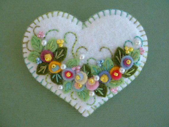 Felt Flower Applique Heart Pin by Beedeebabee on Etsy, $18.00