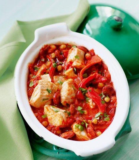 Cod and chorizo stew [fish, cooking chorizo, tomatoes, smoked paprika, roasted peppers, white wine, chili flakes, onion[]