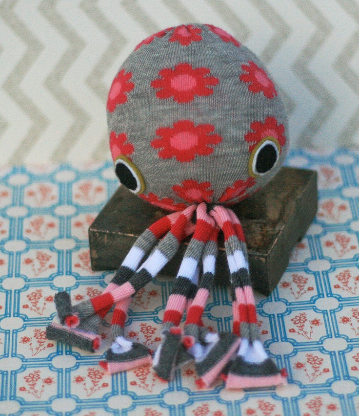 Soctopus soft toy. 10 dollars via Etsy. Easy to make with just socks (new or recycled) and stuffing (see tutorial: http://www.onegoodthingbyjillee.com/2012/04/no-sew-socktopus.html )
