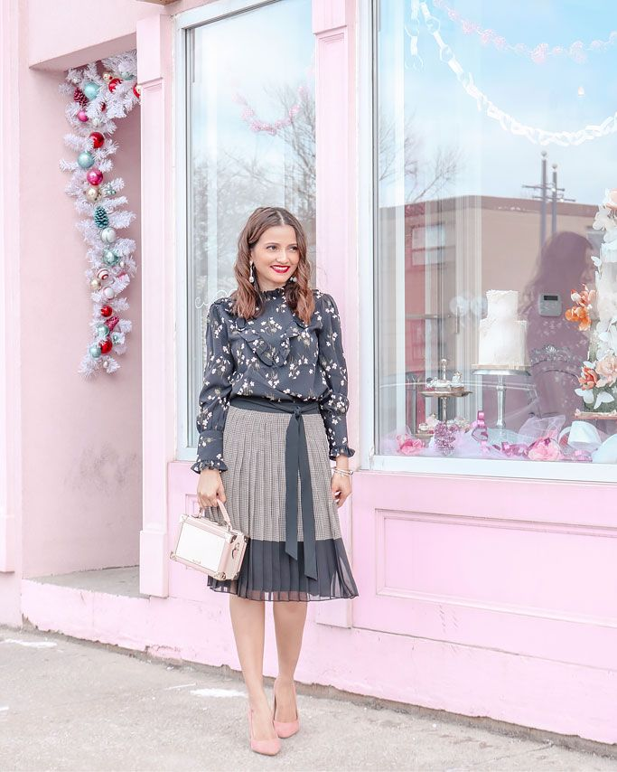 ae35ec89b22 Ann-Taylor-Plaid-Tie-Waist-Pleated-Skirt --Floral-Ruffle-Mock-Neck-Blouse-Blogger-Outfit