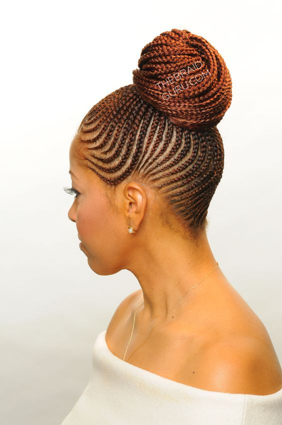 Feed-In Cornrows in a bun- Left Side View Braids by Thebraidguru.com: