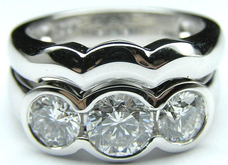 Three Stone Round Diamond Bezel Set Engagement Ring