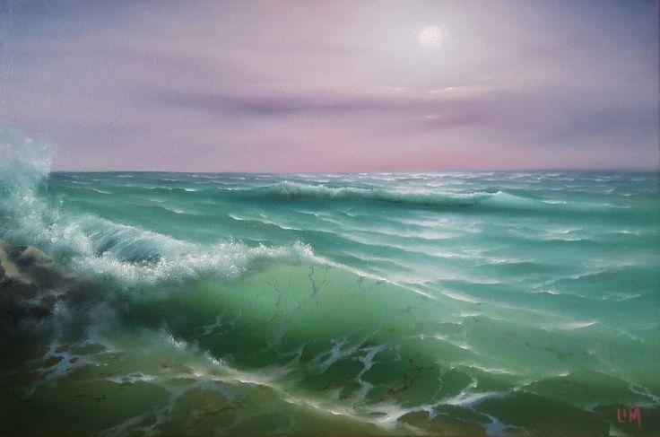живопись - морской пейзаж, купить картину Розовое утро