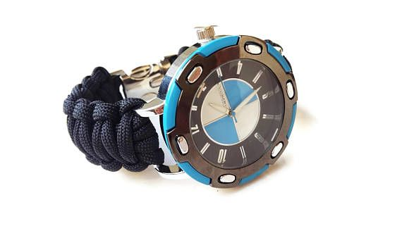 Mens black paracord watch  Black strap watch  wrist watch