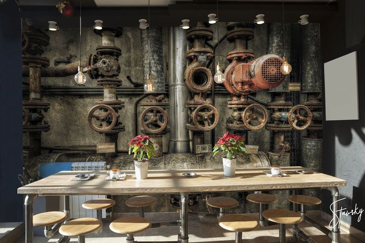 I love industrial design and I love bars. Mural 'Pump' is perfect example of industrial design and fits perfectly into bars!  #stawsky #design #murals #wallswork #tapetomat #wallpaper #wallpapers #designer #artist #fashion #decorate #diy #wall #walls #vintage #retro #loft #art #comingsoon #friday #PRL #industrial #factory #party #room #weekend #home #house #interior #interiordesign