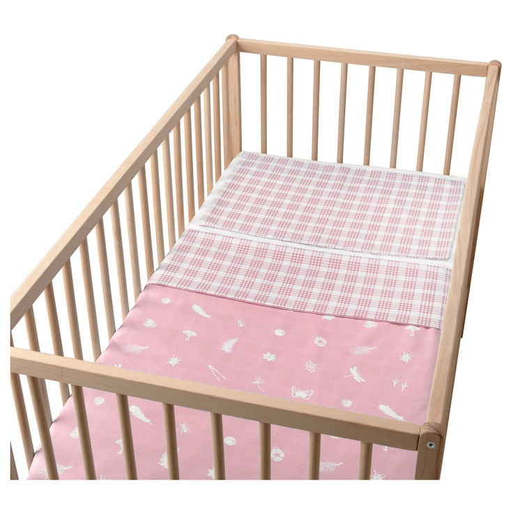 VANDRING SKOG Quilt cover/pillowcase for cot - pink - IKEA