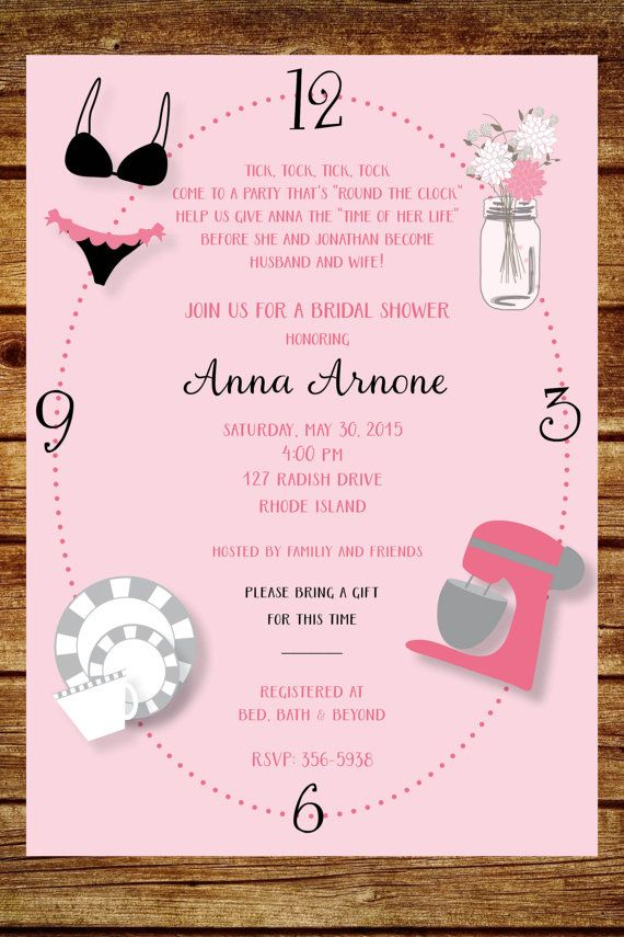 Around the clock wedding shower invitation custom around for Online wedding shower invitations