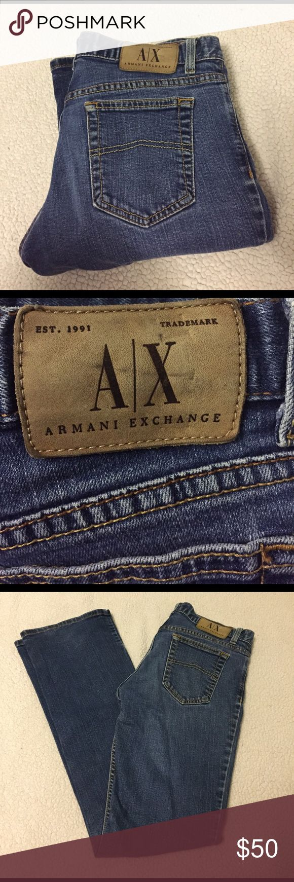 Armani Exchange Low Rise Boot Cut Jeans In great condition! Boot cut, low rise, dark wash. 40 1/2 inches in length A/X Armani Exchange Jeans Boot Cut