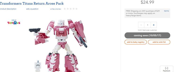 Transformers Titans Return Arcee will be Available at Toysrus