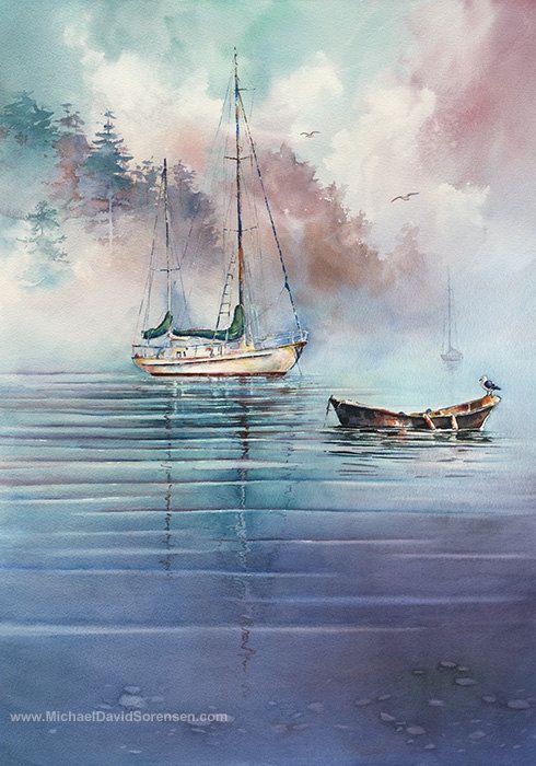 Sailboat Art. Watercolor Painting. Prints. Sailing. Blue. Cyan. Purple. Boats. Nautical Artwork. Watercolor Water. Row Boat. Seagulls.