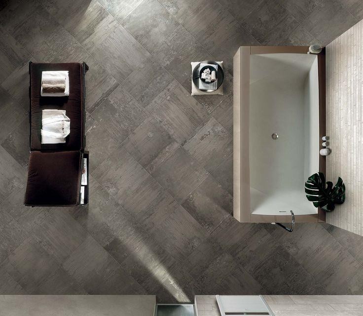 Ceramic tiles with industrial floorings effect: Contemporary Stone #flooring #dark #grey #pattern #ceramic #tiles #classic