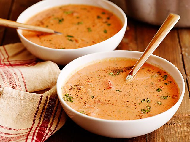 Best Tomato Soup Ever Recipe : Ree Drummond : Food Network (but uses canned tomatoes and tomato juice rather than fresh)