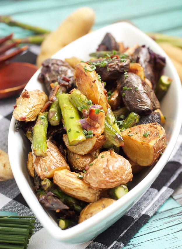 Roasted Fingerling and Asparagus Potato Salad| Mayo-free, warm potato salad with roasted fingerling potatoes and asparagus. Great for summer BBQ's.