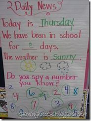 """Morning Message.  Good idea to include a """"days in school"""" count, as well as some number identification right in the message."""