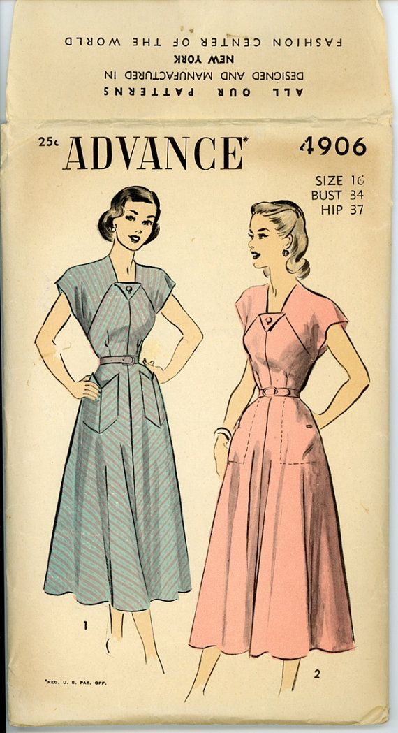 1940s Dress Pattern Advance 4906 Misses Flared Skirt Raglan Sleeve Day Dress with Chevron Pockets Bust 34 Womens Vintae Sewing Pattern