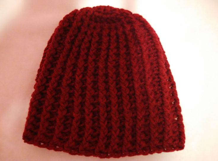 crochet striped beanie in crimson, young woman size by yrozaf on Etsy