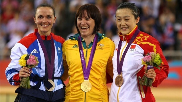 Gold medallist Anna Meares poses on the podium.  (L-R) Silver medallist Victoria Pendleton of Great Britain, Gold medallist Anna Meares, and Bronze medallist Shuang Guo of China celebrate during the medal ceremony for the women's Sprint Track Cycling final on Day 11 of the London 2012 Olympic Games at Velodrome.  (8-8-2012)