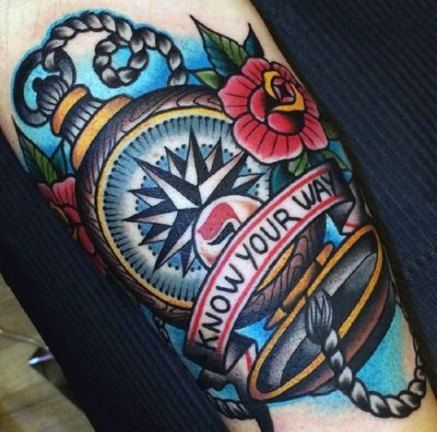 Bestes Tattoo Kompass im traditionellen Stil 36 Ideen