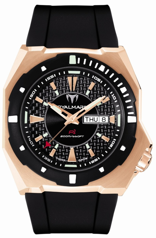 TechnoMarine Men's P1RG02-01 RoyalMarine P1 Automatic Gold-tone Black Rubber Watch
