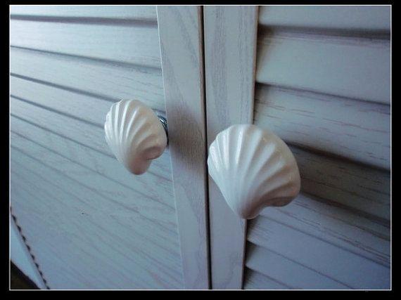 Large Drawer Knobs Shell Dresser Knob White Ceramic / Nautical Kitchen Furniture Cabinet Dresser Drawer Pulls Handles Hardware Porcelain A18 on Etsy, £3.96