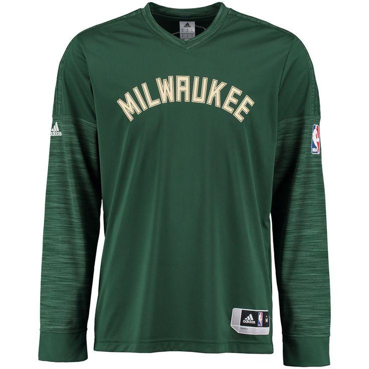 Men's adidas Hunter Green Milwaukee Bucks On-Court Long Sleeve T-Shirt