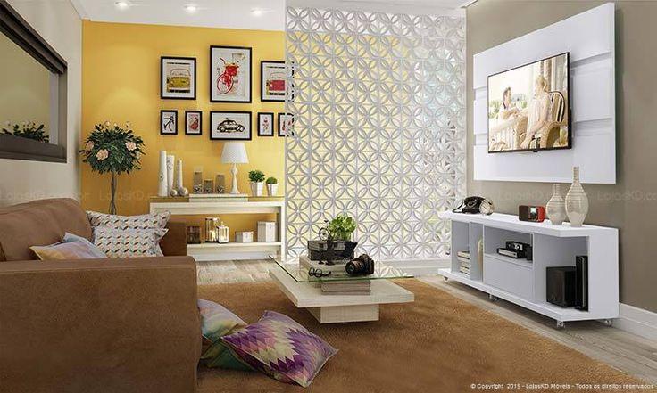 Conjunto para Sala de Estar com Rack, Painel, Mesa de Centro e Aparador Bianco Vitale/Branco Gloss/ - Caaza