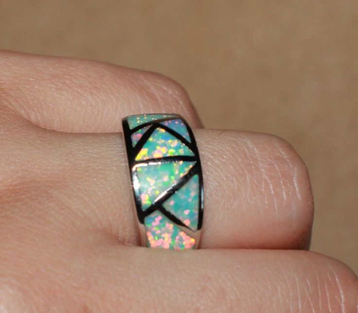 fire opal ring gemstone silver jewelry 6.25 7.5 8.5 chic wedding cocktail band J