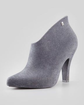 Melissa Shoes Drama Flocked Waterproof Bootie, Gray on shopstyle.com