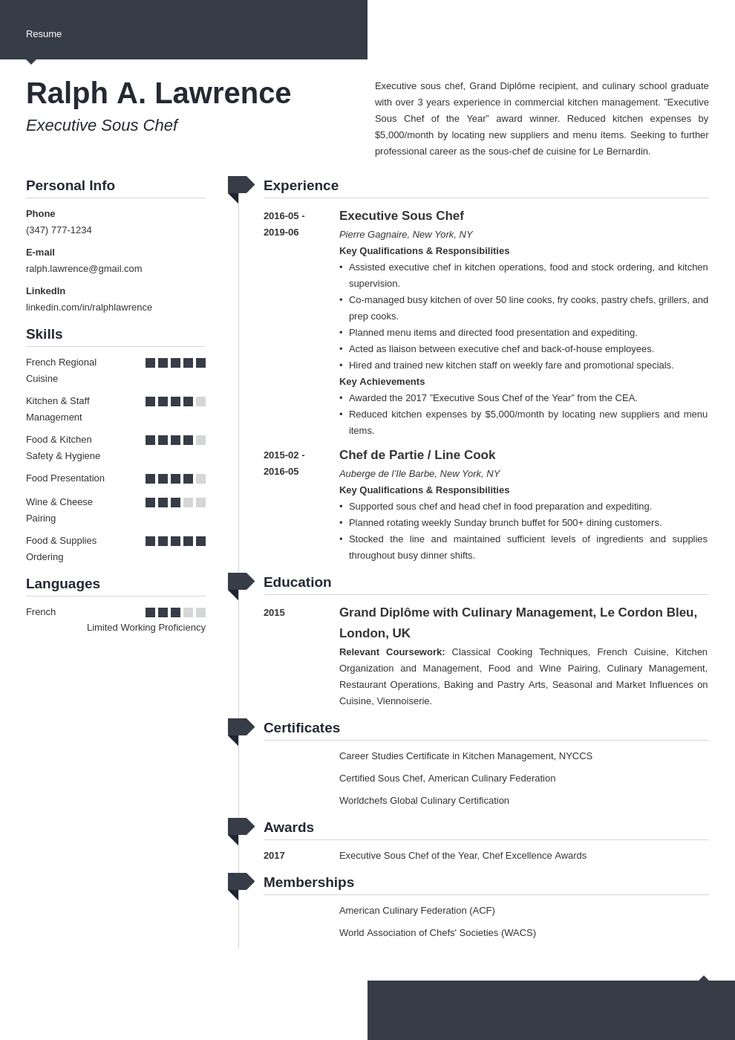 sous chef resume example template modern  chef resume
