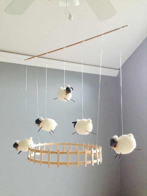 Lamb Sheep Baby Mobile for Nursery Nursery by CurlyCarmenandTim. This looks like…