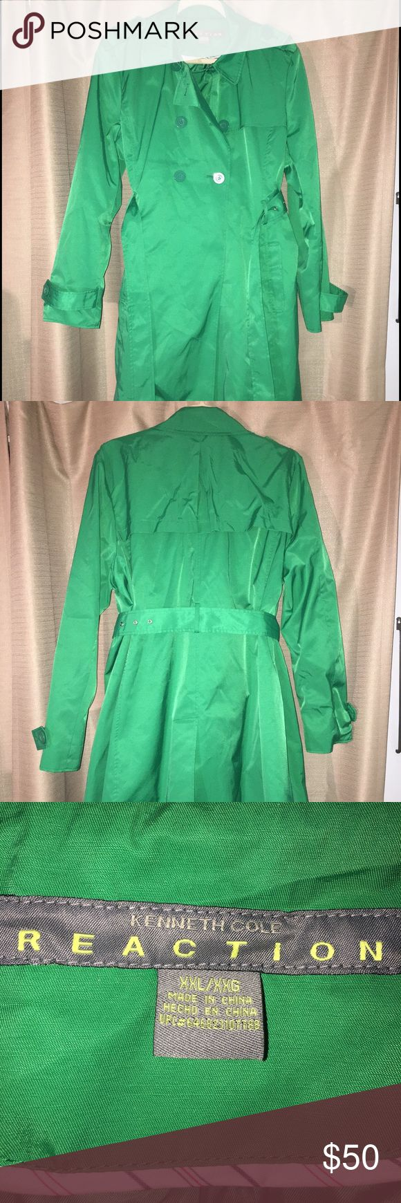 Kenneth Cole Kelly Green Trench Coat Woman's double breasted Kelly green trench. Only worn a hand full of times, in like new condition. Kenneth Cole Reaction Jackets & Coats Trench Coats