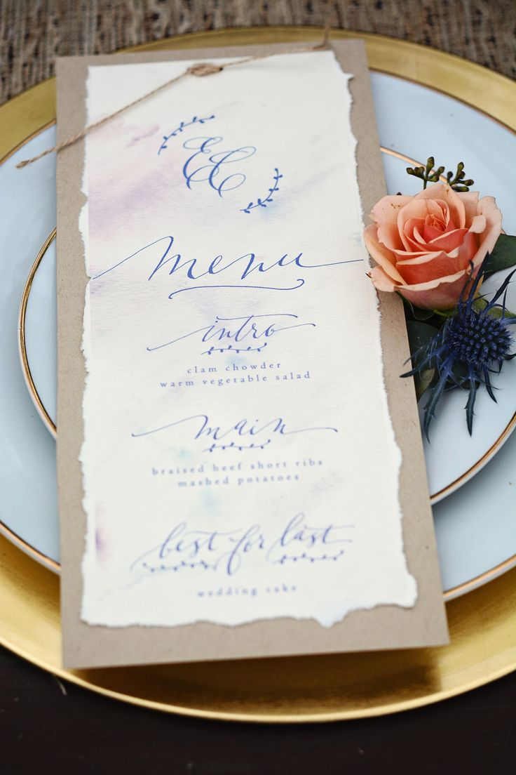 A menu card featuring kraft paper, torn ivory cardstock, twine, and blue  hand