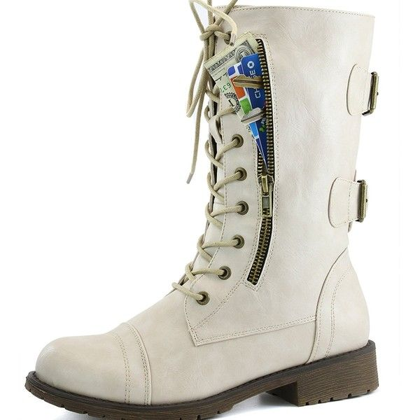 DailyShoes Women's Military Ankle Lace Up Buckle Combat Boots Mid Knee... ❤ liked on Polyvore featuring shoes, boots, ankle booties, lace-up ankle booties, buckle booties, military combat boots, knee high combat boots and knee-high lace-up boots